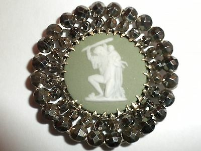 EXTREMELY RARE - 1800's ANTIQUE Wedgwood OLD Jasperware Cameo & Cut Steel BUTTON