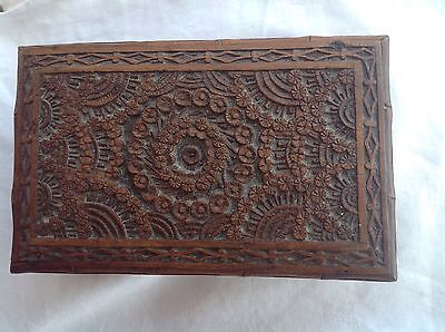 19th Century Chinese hand carved wooden box