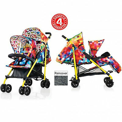 New Cosatto Shuffle Tandem Stroller Double Pushchair Buggy Pixelate