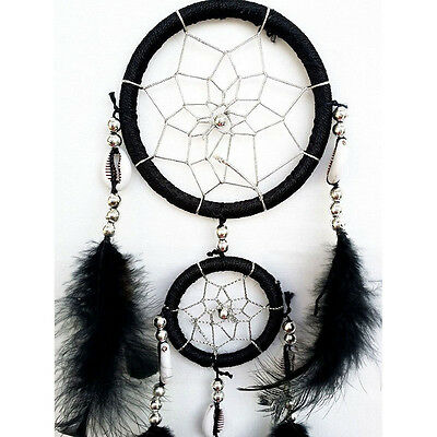 Hot Black Round Dream Catcher With Feathers Car Hanging Decoration Ornament Gift