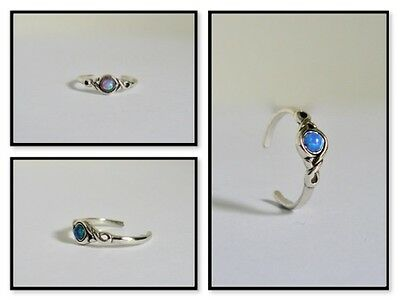 925 Sterling Silver Patterned Toe Rings - Variety of Synthetic Opals