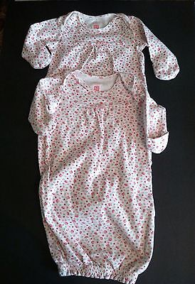 Carter's Lot of 2 Baby Girls Layette Pajamas Gowns TWINS Size 0-3 Months