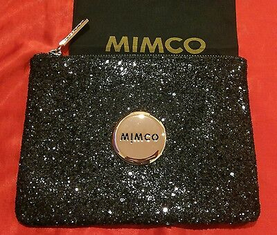 Mimco Black Sparks Fly Sparkle Rose Gold Pouch Clutch Wallet Purse Medium BNWT