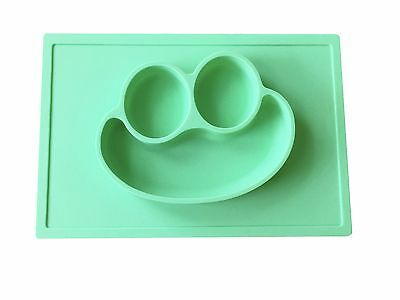 NEW Silicone 3D Happy Face Kids Mat Placemat plate/bowl- Suctions to Table