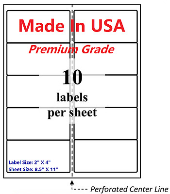 "1000 Premium Blank Shipping Labels-2"" X 4""-Made in USA-Self Adhesive-8.5 x 11"