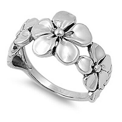 Sterling Silver Womans Plumeria Fashion Ring Beautiful 925 Band 12mm Sizes 3-13