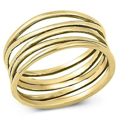 Gold-Tone Wide Knot Bar Line Fashion Ring .925 Sterling Silver Band Sizes 5-12
