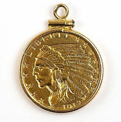 1912 $2.5 Indian Head Gold Quarter Eagle AU in 14k Gold Pendant Bezel!