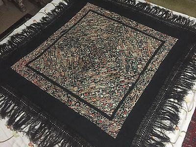 Antiques Chinese Rare Silk Hand Embroidered Textile Piano Shawl Figures Tapestry