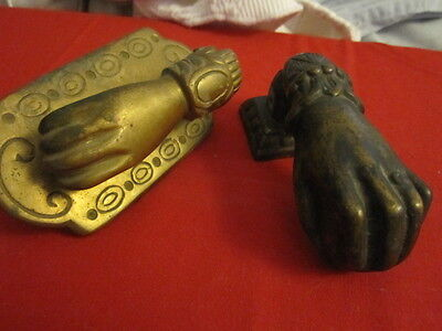 Two Antique Brass Hand With Ball Door Knockers One  With Back Plate