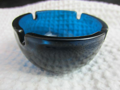 vintage mid century Hotel Peninsula Hong Kong small blue glass ashtray