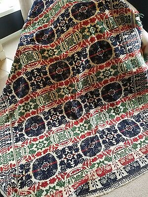 Antique Coverlet Carriage Loom Woven Bed Spread 1853 Blanket 70 x 84