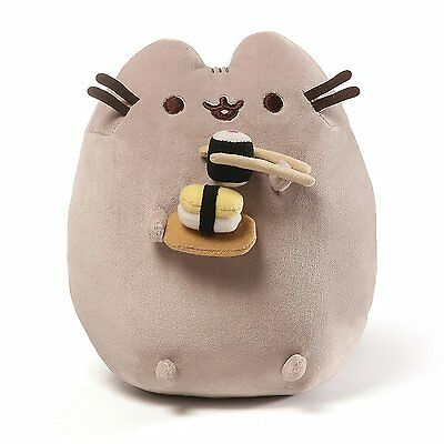Gund PUSHEEN Cat Stuffed Snackable Plush Eating Sushi with Chopsticks NWT 9.5 in