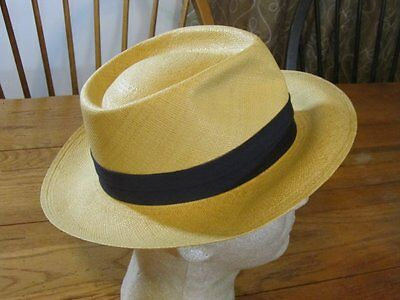 Vintage c 1930s Panama STRAW Hand Woven HAT 6 7/8 Plymouth NICE