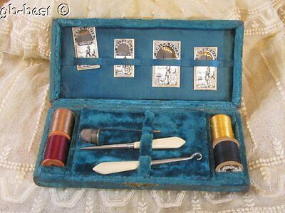 Antique 1800s Sewing Box BLUE Needles Spools Philadelphia Estate