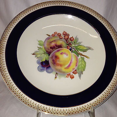 "Crown Ducal England Crd183 Luncheon Plate 9"" Fruit Peaches Cobalt Blue Band"