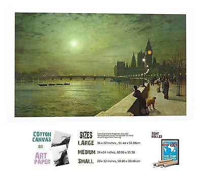 On The Thames Barnes by John Atkinson Grimshaw Artwork by Selby Prints