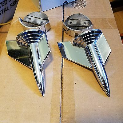 1957 Chevy Chrome Hood Rockets and Rocket Bases Only Pair Used OEM