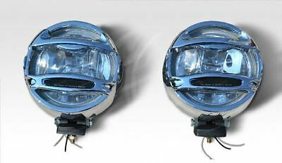 2x 12v 6 Inch Chrome Round Spot Fog Lights Lamp 4x4 Van Car Pickup Caravan Bus