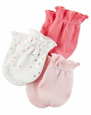 New Carter's 3 Pack Baby Mittens size 0-3 months NWT 100% Cotton Girls Pinks