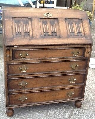 Lovely Vintage Solid Oak Carved Bureau