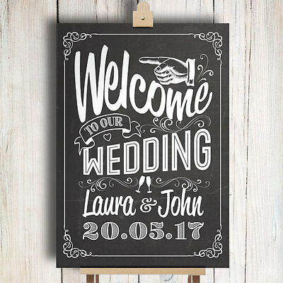 Personalised Wedding Sign • Chalkboard Style • Welcome To Our Wedding
