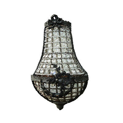 European Crystal Antique Replica Chateau Wall Sconce Light Fixture 17""