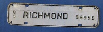 1965 Richmond license plate from Virginia