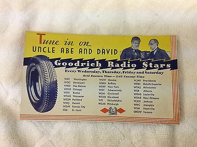 Early Original Goodrich Automobile Tires Radio Stars Advertising Ink Blotter