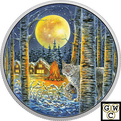2017 'Lynx-Animals in the Moonlight' Color Prf $30Silver 2oz .9999 Fine(18089)NT