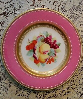 Victorian British porcelain pink edge hand painted fruit motif plate Worcester