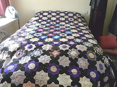 Beautiful Vintage King size Floral Quilted  Patchwork  Bedspread.