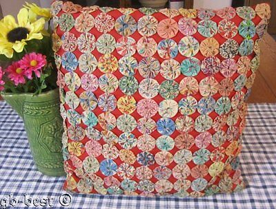 "Darling Cottage! c 1930s Yo Yo QUILT Pillow Feedsacks 16"" x 15"""