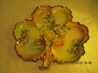Antique Royal Rudolstadt Porcelain Beyer & Bock Prussia Holly Berries Roses Tray