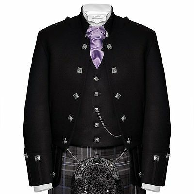Black Sheriffmuir Jacket & Vest Scottish Piper Drummer Men Handmade Doublet
