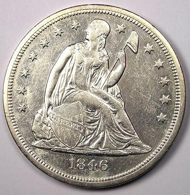 1846-O Seated Liberty Silver Dollar $1 - AU Details - Rare Early Date Coin!