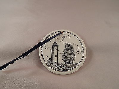 Scrimshaw Resin Christmas Ornament Ship/ Lighthouse with Black Ribbon