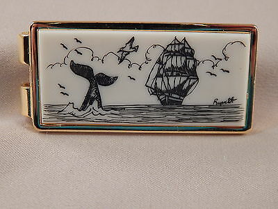 Scrimshaw  Resin  Money Clip  Ship - Whale Tail