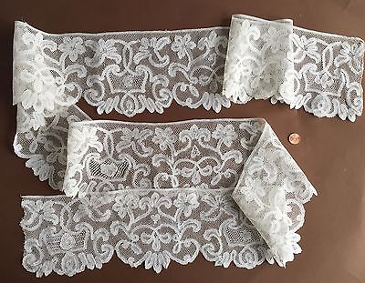 Antique handmade bobbin lace wide border yardage - Mystery  COLLECTOR