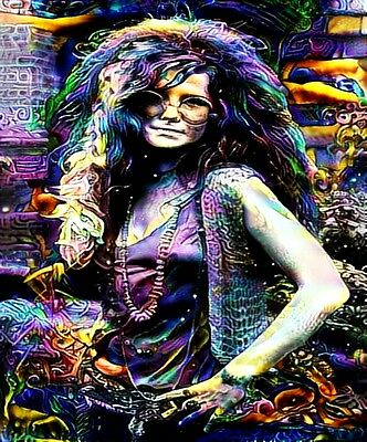 "Janis Joplin in/outdoor Vinyl Bumper Sticker Decal 2.5""x2.75"" Hippie Rock n Roll"