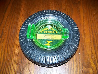 GOODYEAR TIRE ASHTRAY, GREEN VASELINE GLASS, Service Station, Hi-Miler, Ohio