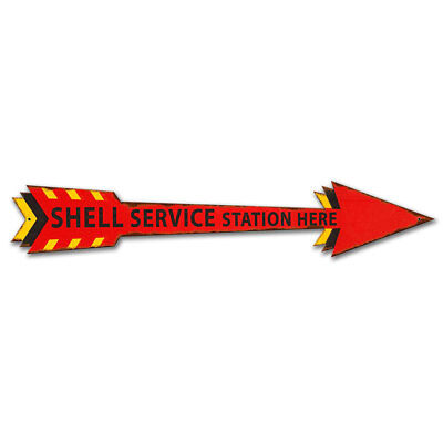 Shell Service Station Here Arrow Metal Sign Distressed 28 x 5 Vintage Style