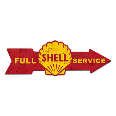 Shell Full Service Arrow Metal Sign Distressed 32 x 10 Vintage Style