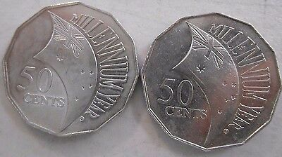 2000 INCUSED 50 Cent Millennium Year Circulated Condition Free standard Coin