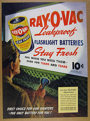 1945 Ray-O-Vac Flashlight Batteries battery billboard sign art vintage print Ad