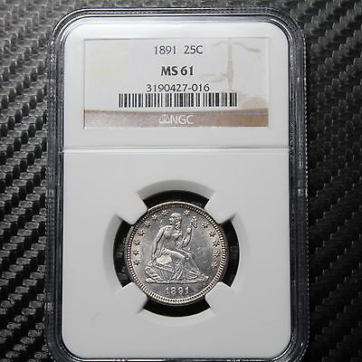 1891 Seated Liberty Quarter NGC MS61 - ATTRACTIVE!