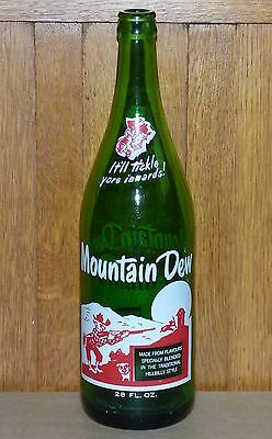 Super rare Canadian MOUNTAIN DEW 28 oz ACL quart soda pop bottle FREE SHIPPING!