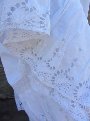 Edwardian white cotton petticoat with deep whitework flounce broderie anglaise