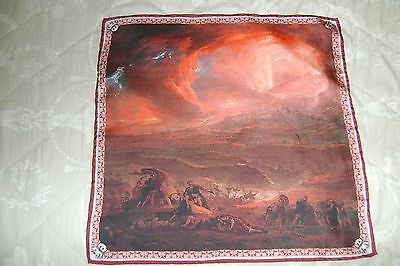 """Hand made silk square 17"""" hand rolled destruction of Herculaneum and Pompeii"""
