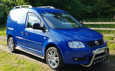 To Fit 2004 - 2010 VW Caddy Stainless Steel Side Bars Steps Tubes Bar + LEDs